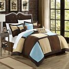 Diana Microsuede Blue, Browns, Ivory 11 Piece Comforter Bed In A Bag Set