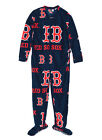 Boston Red Sox MLB Navy Logo Print Adult Men's Footie Union Suit Pajamas