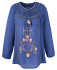 Anthology at Marisota EMBROIDERED Blue FOLK Gypsy Blouse / Tunic Sizes 14 to 32