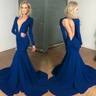 Womens Bandage Deep V Neck Clubwear Cocktail Long Slim Maxi Dress Evening Party