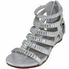 New girl's kids back zipper sandals silver gladiator casual open toe summer