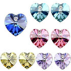 Fashion Women Silver Plated Love Crystal Heart Stud Earring Pin 5Coolors