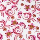 Pink Flower Whirls in Pink & Metallic Gold on White, Cotton Fabric by Hoffman
