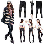 Women's Leather Lace Panel Leggings Jeggings Stretch Trousers Pants Multi-Styles