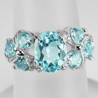 Natural Sky Blue Topaz Solid 925 Sterling Silver Ring Size #7, #8 (r370)