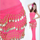 The Fancy Woman Ldies Girls Chiffon 3 Row Belly Dance Hip Scarf Coin Belt Skirts