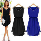 Fashion Women Rivet Sleeveless Chiffon Party Sexy Bodycon Cocktail Casual Dress