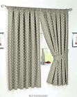 BEIGE POLKA DOT UNLINED CURTAINS NICE QUALITY PAIR WITH TIEBACKS.