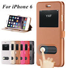 NEW LUXURY SLIM IPHONE 6 4.7 LEATHER FLIP CASE COVER DUAL WINDOW S VIEW STAND
