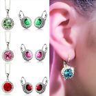 Rhinestone Crystal Dangle Earrings Ear Pendant+necklace  White Green Red Purple
