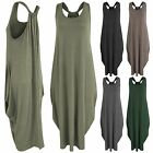 NEW LADIES BAGGY FIT TOPS TUNIC LONG TULIP LOOK WOMENS RACER BACK VEST DRESS
