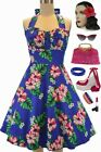 50s Style PLUS SIZE Blue HAWAIIAN HIBISCUS Print Pinup Betty HALTER TOP SunDress