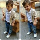 3Pcs Baby Boys Gentleman Coat Jacket Top Shirt Denim Trousers Outfit Clothes Set