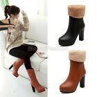 Womens Faux Fur Cuffed Platform High Heel Ankle Boots Shoes Plus Size 2207-156