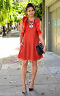 H&M Conscious Ruffled A-Line Lyocell Mix Dress Orange Red New 2015 UK 10 12 16