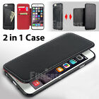 For iPhone 5 5S 6 6 Plus Genuine Leather Black Red Card Wallet Purse Case Cover