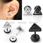 Pair Steel Swirl Triangle Barbell Bars Ear Stud Cartilage Helix Earring Piercing