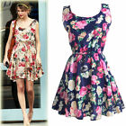 Women Casual Chiffon Floral Print Elastic Waist Sundress Skater Tank Mini Dress