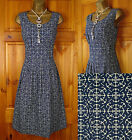 NEW SEASALT BLUE CREAM ANCHOR PRINT COTTON SUMMER TUNIC DRESS VINTAGE STYLE 8-18