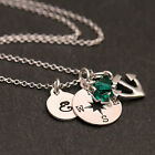 925 Sterling Silver Personalised Compass and Anchor Charm Necklace w Birthstone