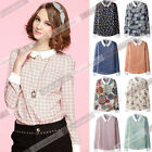 Autumn Women Casual Loose Lapel Long Sleeve Chiffon Blouse Shirt Tops T-shirt DZ