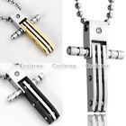 Fashion Jewelry MENS Stainless Steel Movable Stripe Cross Pendant Necklace Chain