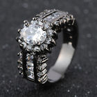 Size 6,7,8,9,10,11 White Topaz 18K Gold Filled Womans Wedding Anniversary Rings