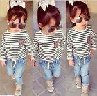 New Autum  Baby Girls Black and white stripes T-shirt+Jeans Set fit 2-7Y