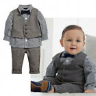 Toddler Baby Boys Formal Tuxedo Suit Plaid Shirt Waistcoat Pants Outfit Clothes·
