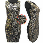 NEW WOMENS LADIES SEQUINS PAISLEY DRESS BODYCON BLACK PARTY SLEEVELESS LONG TOPS
