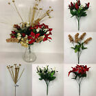*ARTIFICIAL CHRISTMAS FLOWERS* Job Lot Of 7 x Bunches *Poinsettias, Roses etc*