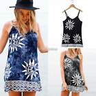 Summer Women Vintage Sleeveless Casual Loose T-Shirt Long Tops Mini Beach Dress