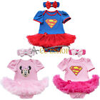 Newborn Baby Girl Superman Minnie Mouse Romper Dress Headband Outfit Clothes Set