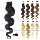 20pcs 3M Body wave Curly Remy Tape In Human Hair Extensions Wavy Weft 50g
