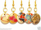 Nice Wooden Pendant Earrings / Colorful Print/ Hearts/ Retro Circles/ Valentines