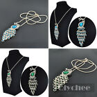 Women Fashion Blue Green Crystal Peacock Pendant Party Necklace Rose Gold Plated