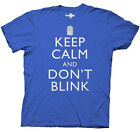 Doctor Who Keep Calm And Don't Blink BBC Licensed Adult T-Shirt - Blue