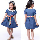2015 Lovely Girls Short Sleeve Floral Belt Princess Dress Teen Clothes Casual