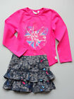 3 Pommes Girls Fuchsia Tee Shirt and Navy Floral Print Skirt Set Sizes 4 and 5