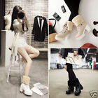 Ladies Faux Fur Cuffed PU Lace Up Platform Chunky High Heel Ankle Boots Shoes