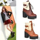 Womens Ladies Cuffed PU Lace Up Platform Chunky High Heel Ankle Boots Shoes