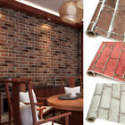 1m 3D Vintage Embossed Stone Brick Effect Vinyl Wallpaper Roll Background Decor