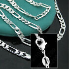 925 Sterling Silver Plated 16-30inch 2MM Chain Fashion Men Figaro Necklace Nice image