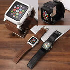 Aluminum Metal Case Cover Genuine Leather Strap Bands for Apple Watch 38mm/42mm