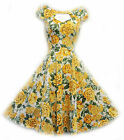 New H&R VTG 1940's 50's style Yellow Floral Rockabilly Pin-up Party Prom Dress