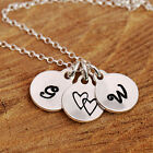 925 Sterling Silver Personalised Bespoke Initial Heart Disc Pendant Necklace