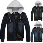 Vintage Men College Style Demin Jeans Hoodies Casual Winter Overcoats Jackets