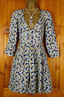 NEW LADIES ZARA BLUE GREEN YELLOW FLORAL VINTAGE STYLE DRESS SIZE S - L UK 6-10