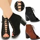 NEW WOMENS LADIES LACE UP BLOCK HEEL ANKLE BOOTS PLATFORM OPEN TOE SHOES SIZE