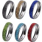 6MM Size 7-12 Stainless Steel CZ Shamballa Wedding Engagement Ring Candy Color